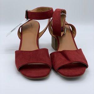 Deep red peep toe heels